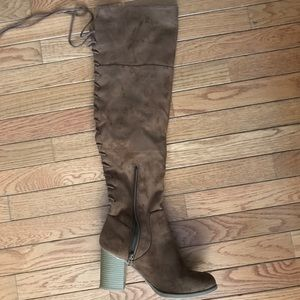 Brown Suede Over The Knee Lace Up Boots - Size 8